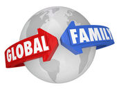 Global Family Words Around Planet Earth Common Community Goals — Stock Photo