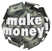 Make Money Earn Income Profit Revenue Currency Ball — Stock Photo