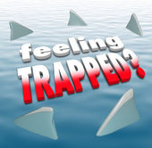 Feeling Trapped Words Shark Fins Circling Ocean — Stock Photo