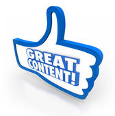 Great Content Thumbs Up Feedback Website Approval — Stock Photo