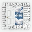 Stock Photo: University College Words Open Door to Your Future