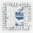 Foto de Stock  : University College Words Open Door to Your Future