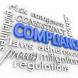 Compliance Word Background Legal Regulations Adherence — Stock Photo