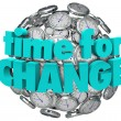 Time for Change Clocks Ball Sphere Innovative Improvement — Stockfoto #34185537