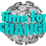 Time for Change Clocks Ball Sphere Innovative Improvement — Stock Photo
