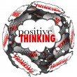 Positive Thinking Words Thought Clouds Sphere — Foto de Stock