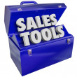 Sales Tools Words Toolbox Selling Technique Scheme — Stock Photo