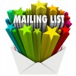 Mailing List Words in Star Envelope — Stok fotoğraf