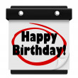 Happy Birthday Words Wall Calendar Surprise Celebrate — Lizenzfreies Foto