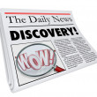 Discovery Newspaper Headline Announcing Surprising News — Стоковая фотография