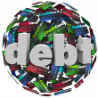 Stock Photo: Debt Word Credit Card Ball Bankrupt Money Problem