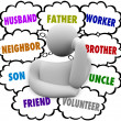 Thinker Thought Clouds Many Roles Husband Father Worker — Stock Photo