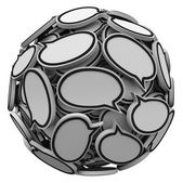 Many Speech Bubbles in a Sphere Cluster Talking Feedback — Stock Photo