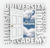 University College Words Open Door to Your Future — Foto Stock