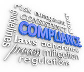 Compliance Word Background Legal Regulations Adherence — Photo