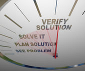 See Problem Plan Solution Solve Verify - Speedometer — Zdjęcie stockowe