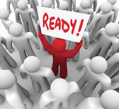 Ready Sign Man Prepared for Challenge Next Step — Stock Photo