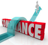Compliance Person Jumping Rules Regulations — Stock Photo