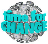 Time for Change Clocks Ball Sphere Innovative Improvement — Stock Photo