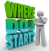 Where Do I Start Thinker Person Wondering Direction Plan — Stock Photo