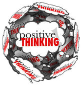 Positive Thinking Words Thought Clouds Sphere — Stock Photo