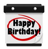 Happy Birthday Words Wall Calendar Surprise Celebrate — Stock Photo