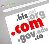 Dot-Com Domain Name Suffixes Website Registration — Stock Photo