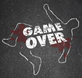 Game Over Body Chalk Outline Dead Person — Zdjęcie stockowe