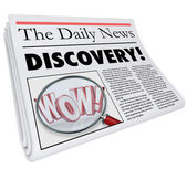 Discovery Newspaper Headline Announcing Surprising News — Stock Photo
