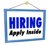 Hiring Window SIgn Apply Within Employment Interview Job — Stock Photo