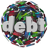 Debt Word Credit Card Ball Bankrupt Money Problem — Stock Photo
