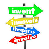 Invent Innovate Inspire Involve Road Arrow Signs — Stock Photo