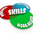 Skills Venn Diagram Personal Transferable Work Related — Stock Photo