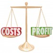 Costs vs Profit Gold Balance Weighing Words — Stock Photo #35625893