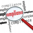 Compliance Words Magnifying Glass Rules Regulations — Stock Photo