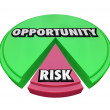 Opportunity Vs Risk Pie Chart Managing Danger — Zdjęcie stockowe