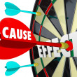Stock Photo: Cause and Effect Dart Board Practice Equals Winning Game