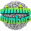 Winning Numbers Ball Lottery Jackpot Game Sweepstakes — Foto Stock
