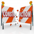 Construction Broken Road Barrier Barricade Sign — Stock Photo