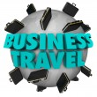 Business Travel Words Briefcases Around World — 图库照片