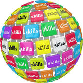 Skills Word on Sphere Ball Required Experience Job Career — Stock Photo