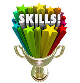 Skills Gold Trophy Best Skillset Experience in Demand — Stock Photo