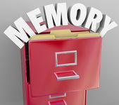 Memory Recalling Retrieving Remember File Cabinet — Zdjęcie stockowe
