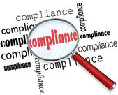Compliance Words Magnifying Glass Rules Regulations — 图库照片