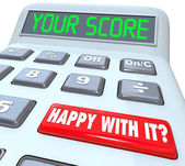 Your Score Calculator Adding Total Result Numbers — Stock Photo