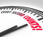 Every Second Counts Clock Countdown Deadline — Stock Photo