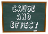 Cause and Effect Chalk Board Experiment Science Learning — Stock Photo