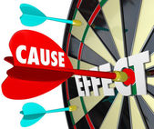 Cause and Effect Dart Board Practice Equals Winning Game — Stock Photo