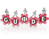 Guide People Walking Gears Instructions Advice — Stock Photo