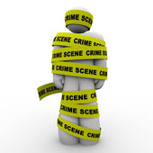 Crime Scene Yellow Tape Suspect Wrapped Detained Arrested — Stock Photo